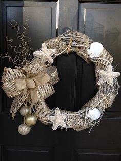 Idea for using a bow and hanging cluster of ornaments.