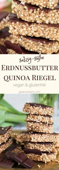 Salzige Erdnussbutter-Quinoa-Chia-Riegel mit Schokolade (vegan & glutenfrei) www., Salty peanut butter quinoa-chia bars with chocolate (vegan & glutenfree) www. Vegan Sweets, Healthy Desserts, Healthy Recipes, Vegan Food, Healthy Salty Snacks, Vegan Quinoa Recipes, Peanut Butter Healthy Snacks, Quinoa Desserts, Quinoa Cookies