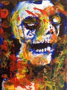 "abstract, zombie, horror art , Acrylic original  ,ACEO  jack larson 3.5""x2.5"" #Abstract"