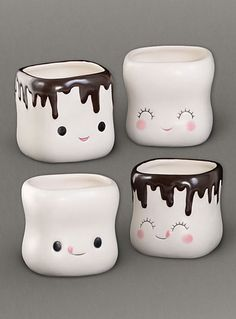 Dine - Sweet Marshmallow Mugs Set by One Hundred 80 Degrees Home Decor Kitchen Accessories, Home Decor Accessories, Cute Kitchen, Kitchen Stuff, Kitchen Gadgets, Kitchen Ideas, Christmas Stationery, Plush Pattern, Cute Little Things