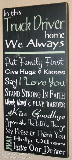 Truck Driver Wife Gift, Driver House Rules, Truck Driver Sign, Custom Wood Sign for Truck Drivers, T New Trucks, Custom Trucks, Chevy Trucks, Pickup Trucks, Truck Memes, Dually Trucks, Truckers Girlfriend, Truck Driver Wife, Truck Drivers