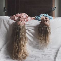 """I know Mam how about me and Penny lie with our heads and hair hanging off the bed like this?"" So yes I'm taking no credit for this image; this one was all thanks to Amelia! Not only does this girl have hair so luscious it would make even Rapunzel jealous but she's also got a creative mind beneath it all too. She'll be ready to take over the allthatisshe reigns in no time Taken during our stay at the wonderful @thehoxtonhotel yesterday."