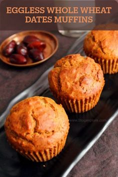 Eggless Dates Muffins. These Eggless Whole Wheat muffins are soft and delicious and packed with the goodness of dates. Perfect for a healthy snack. Eggless Muffins, Eggless Desserts, Eggless Recipes, Eggless Baking, Doughnut Muffins, Simple Muffin Recipe, Healthy Muffin Recipes, Healthy Cake, Healthy Muffins