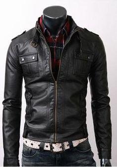 Rider Slim Fit Black Biker Motorcycle Genuine Premium Quality Leather Jacket For Men: Amazon.co.uk: Clothing