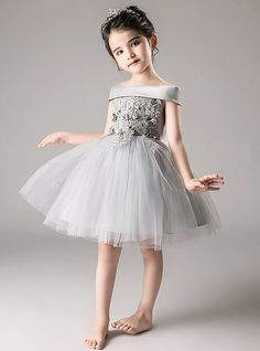 25a1ee3d396a A-Line / Princess Medium Length Flower Girl Dress - Tulle Sleeveless Off  Shoulder with Appliques / Tiered by LAN TING Express