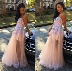 2015 Mix Color Lace Applique Sheer Strapless A-line Long Prom Dresses Formal Evening Dress Party Gowns