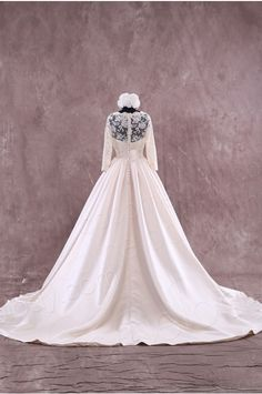 Impressive A-Line Straps Natural Court Train Satin Champagne Long Sleeve Zipper with Button Wedding Dress with Appliques h2ls0108 - Modest Sleeves Wedding Dresses - Wedding Dresses #weddingdress #cocomelody