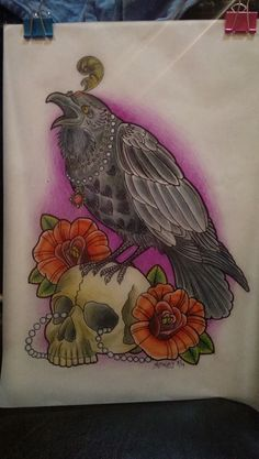Neo Traditional Raven tattoo design