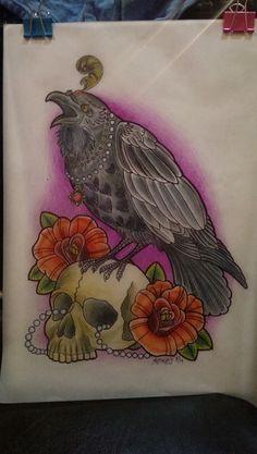 Neo Traditional Raven tattoo design