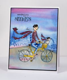 Watercolour cyclist by Heather T - Cards and Paper Crafts at Splitcoaststampers