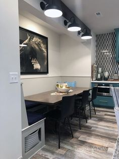 Banquette Table in the Basement! - Jennifer Allwood Home Small House Decorating, Interior Decorating, Decorating Tips, Banquette Table, Table And Chairs, Dining Chairs, Entry Tables, Nebraska Furniture Mart, Basement Remodeling