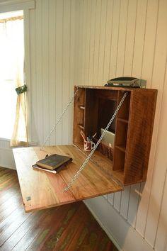Fold Down Desk folding desk for apartments by KentuckyReclaimed
