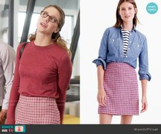 Crew Mini skirt in pink houndstooth worn by Kara Danvers (Melissa Benoist) on Supergirl Fashion Tv, Fashion Outfits, Fasion, Supergirl Outfit, Kara Danvers Supergirl, Librarian Style, Houndstooth Skirt, Office Outfits, Work Casual