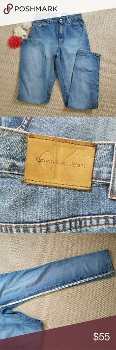 Vintage calvin Klein 90s mom high waisted jeans Hard to find Calvin Klein Stone washed 1990s high-waisted mom jeans. Size reads 6, please see measurements and photos. Classic V pockets zip and button front with CK logo on front button. Classic tapered skinny leg from the 90s. Jeans are in excellent condition. I also have a pair of CKs in my closet from the 1980s, also Mom Jeans/High waisted. Calvin Klein Jeans Jeans Skinny
