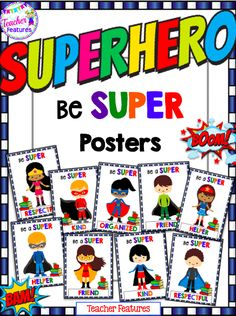 These superhero-themed posters are perfect for setting up classroom expectations at the beginning of the year and for being a visual reminder throughout the rest of the year.  Contains:  10 Posters (1 boy and 1 girl version of each word)