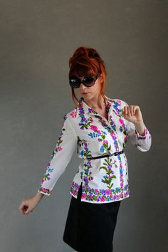 1970s Floral Summer Shirt White Green Purple Blue by gogovintage, $28.00