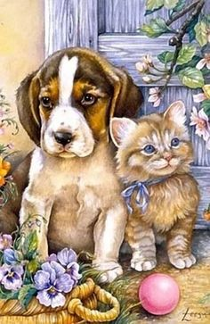 Links to cute dog and cat art Animals And Pets, Baby Animals, Cute Animals, Kittens And Puppies, Cats And Kittens, Animal Paintings, Animal Drawings, Animal Pictures, Cute Pictures