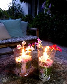 DIY floating candle vases, via Our French Oasis