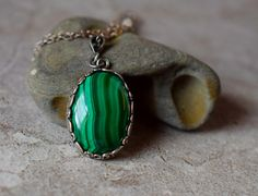 Malachite Necklace Malachite Pendant Forest Green by MsBsDesigns