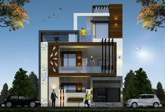 House Outside Design, House Front Design, Modern House Design, Modern Houses, Door Design, Exterior Design, 2bhk House Plan, Duplex House Plans, Small House Plans