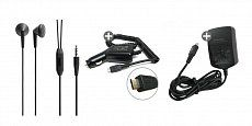 Buy 3 in 1 Blackberry Accessories in Bundle Offer Blackberry Stereo Headset 3.5mm pin, Black, Micro-Usb Vehicle Power Adapter,  3-Pin USB Travel Charge