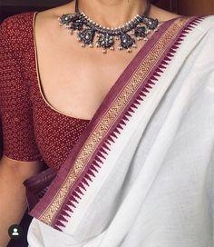 Dress Indian Style, Indian Dresses, Indian Wear, Cotton Saree Blouse Designs, Modern Saree, Ethnic Outfits, Indian Outfits, Desi Wear, Blouse Models