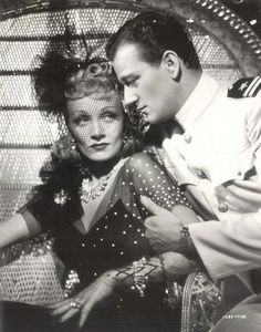 John Wayne and Marlene Dietrich in Seven Sinners wearing Joseff Hollywood jewelry Marlene Dietrich, Rita Hayworth, Vintage Hollywood, Classic Hollywood, Hollywood Stars, Young John Wayne, Divas, John Wayne Movies, Haircut Pictures