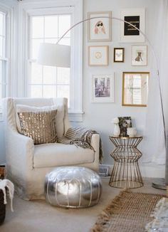 """How To Mix Styles with Confidence  Apartment Therapy """"Look for Common Details: Sometimes, the smallest of details are what makes a room work. In the corner above, the unifying story is of vertical lines and metallics"""""""