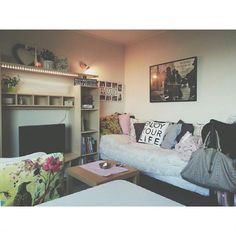 Finally, a dorm room that looks classy, well thought out with great style & and appears to be the home of an adult, not a messy teenager...