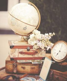 Beautiful Wedding Decor with Travel Theme. Florals, Suitcases and Globe. Vintage Travel Wedding, Vintage Travel Themes, Wedding Centerpieces, Wedding Decorations, Travel Bridal Showers, Our Wedding, Dream Wedding, Travel Party, Grad Parties
