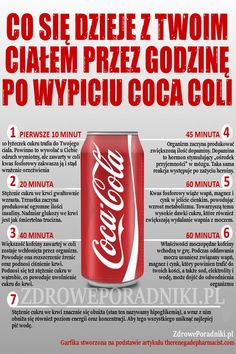 Czy wiesz co się dzieje z Twoim ciałem przez godzinę po wypiciu coca coli Healthy Facts, Healthy Tips, Coca Cola, Fit Board Workouts, Best Diets, Nutrition, Food Hacks, Health And Beauty, Healthy Lifestyle