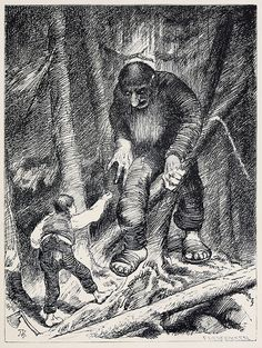 """THEODOR KITTELSEN  """" If you don't be be quiet """" shouted the lad to the troll, """" I'll squeeze you just as I squeeze the water out of this stone. """""""