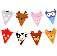 animals design - Cow Owl Tiger Bear Pig Shaped Reusable Garland Animal Party Banner Flags for Kids Party Animals, Animal Party, Birthday Flags, Party Flags, Bunting Flags, Bunting Garland, Animal Faces, Shabby Vintage, Animal Crafts