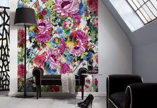 Fototapete Retro große Blumen Lila Rosa Bunt 70er 184x254cm 4-749 Romantic Pop