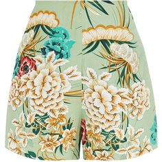 Sage Green Floral Kimono Shorts (£19) ❤ liked on Polyvore featuring shorts, kimono, flower print shorts, green shorts, floral shorts, floral print shorts and green floral shorts