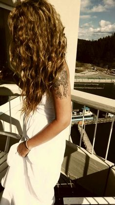 Bohemian bride with tattoos, bride with long curly hair