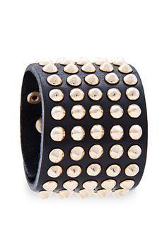 MANGO - Skórzana bransoletka z ćwiekami