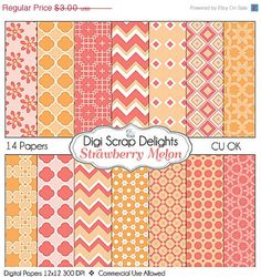40 Off SALE Strawberry Melon Digital Papers by DigiScrapDelights,