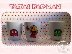 Tazas decoradas con rotuladores de cerámica. http://manualidadescongomaeva.blogspot.com.es/2014/02/tazas-pac-man.html