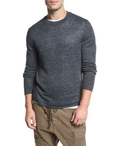 VINCE Raw-Edge Linen Crewneck Sweater, Gray. #vince #cloth #