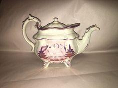 Staffordshire Pink Luster Teapot Lusterware Ca. 1840 Make Do Lid