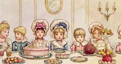 Kate Greenaway - Supper, from 'Christmas in Little Peopleton Manor' in Illustrated London News, Christmas, 1879