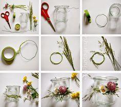 DIY: Windlichter im Einweckglas mit Blumenkranz