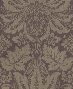 Callisto  (1982/314) - Prestigious Wallpapers - A grand damask, vinyl, weave textured, wallcovering design with metallic detailing. Shown here in mulberry with light gold detailing. Other colourways are available. Please request a sample for a true colour match.
