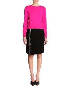 Cashmere+Crewneck+Sweater+&+Snakeskin+Print-Trim+Big-Zip+Jersey+Skirt+by+Christopher+Kane+at+Neiman+Marcus.