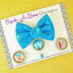 Interchangeable Snap Centers Hair Bow - Custom Turquoise Sparkle Fabric Frozen Damask Mono... $7.95