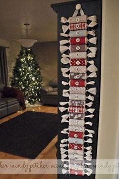 Recycled Toilet Paper Roll Christmas Advent Calendar by Sirkka