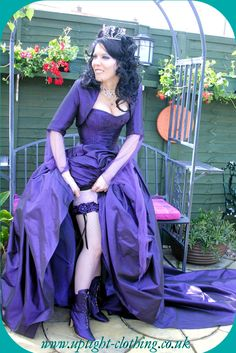 Purple gothic wedding dress by Uptight Clothing. Alternative Wedding Dresses, Alternative Fashion, Beautiful Costumes, Beautiful Gowns, Goth Wedding Dresses, Formal Dresses, Gothic Wedding, Purple Dress, Dream Dress