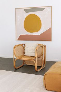 graphic painting over bamboo chair. / sfgirlbybay