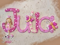 Julia Mdf Letters, Painted Wood Letters, Nursery Letters, Wooden Letters, Hand Painted, Nursery Room, Girl Nursery, Quilling, Letter A Crafts